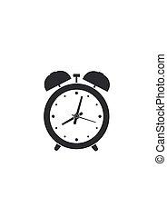 klok, waarschuwing, vrijstaand, illustratie, achtergrond., vector, witte