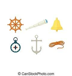 klok, wiel, verrekijker, koord, kompas, tv nieuws , scheeps