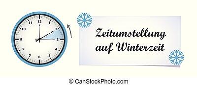 klok, winter, veranderen, tijd