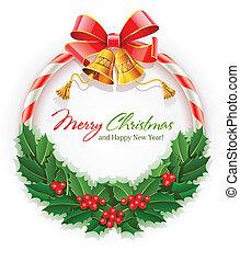 klokken, krans, kerstmis, goud boog