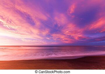 klokker, strand, hos, solopgang