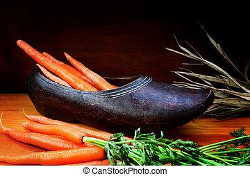 klomp, met, wortels, voor, sinterklaas, dag