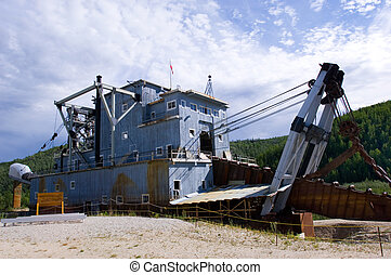 Klondike dredge - Historical dredge on Bonanza creek near...