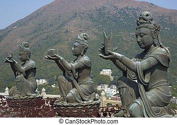 klooster, lin, boeddha, standbeelden, po