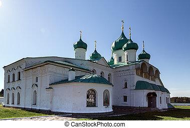 klooster, straat., transfiguration, kerken, svir, alexander