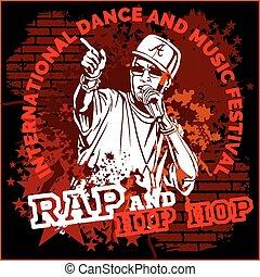 klopfen, hip hop, graffiti, -, vektor, plakat