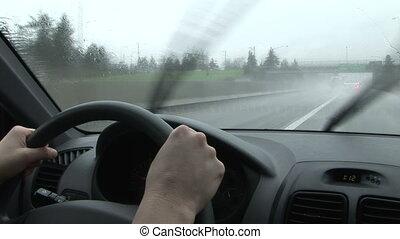 klopfen, regenguß, fahren, zurück, regen, windschutzscheibe,...