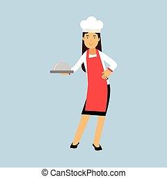klosz, fartuch, samica, litera, ilustracja, mistrz kucharski, wektor, dzierżawa, kok, platter, czerwony