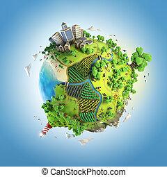 klot, begrepp, av, idyllisk, grön, värld