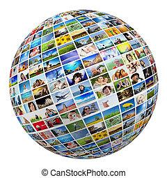 klot, boll, med, olika, bilder, av, folk, natur, objekt, ställen