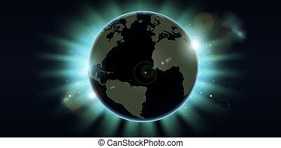 klot, förmörkelse, bakgrund, värld