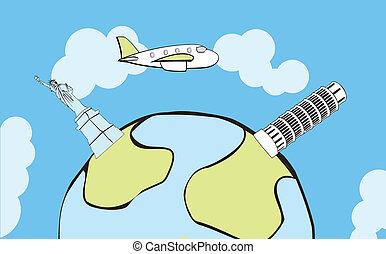 klot, flygning, airplane, omkring
