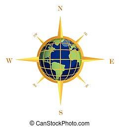 klot, guld, illustration, kompass