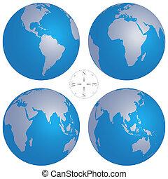 klot, illustration, kartera, vektor, kompass, värld