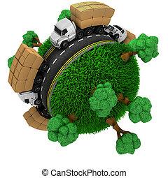 klot, lastbil, omkring, väg, gräsbevuxen