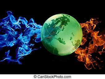 klot, mot, abstrakt, vatten, och, eld