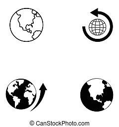 klot, sätta, ikon