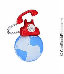 klot, telefon, röd, retro