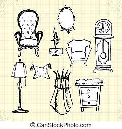 klotter, antikvitet, möblemang, på, papper