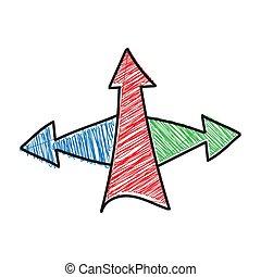 klotter, färg, skuggat, design., teckning, design, pil, tema...