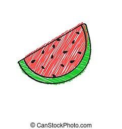 klotter, färg, vattenmelon, design., teckning, design, tema...