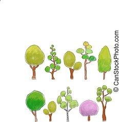 klotter, färgad, träd