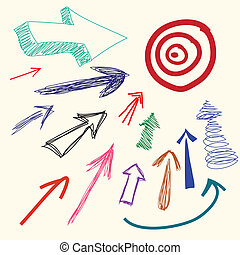klotter, hand, tecknad film, pil, teckning