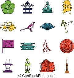 klotter, korea, sätta, syd, ikonen