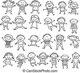klotter, lycklig, tecknad film, kollektion, unge