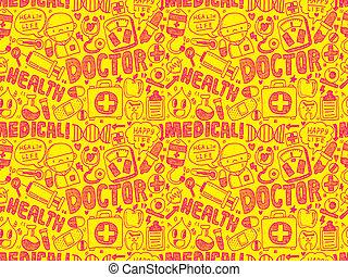 klotter, medicinsk, seamless, mönster