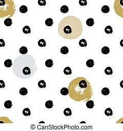 klotter, polka, seamless, hand, circles., design, borsta, bläck, oavgjord, punkt