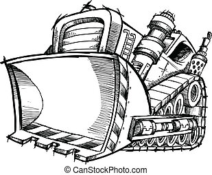 klotter, skiss, vektor, konst, bulldozer
