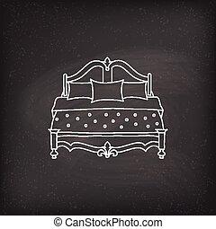 klotter, vektor, säng, ikon
