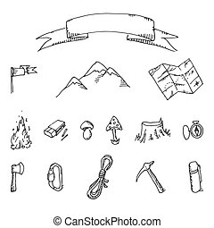 klotter, vektor, sätta, äventyr, camping