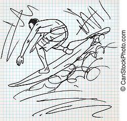 klouzání na vlnách, skica, ilustrace