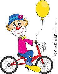 klown, bicycle.