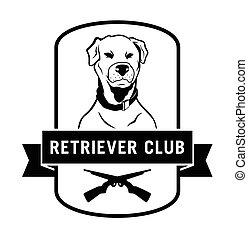 klub, apportierhund, abzeichen, etikett
