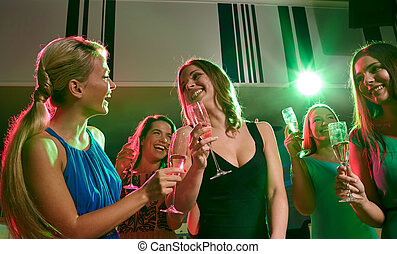 klub, champagner, junger, brille, frauen