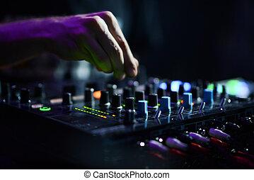 klub, didżej, muzyka, noc