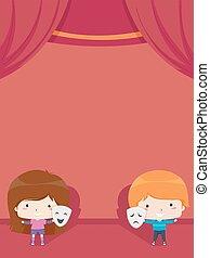 klub dziecisków, ilustracja, dramat, tło, rusztowanie