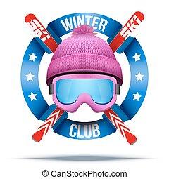 klub, etiketten, mannschaft, ski, oder, abzeichen