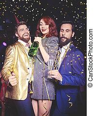 klub, genießen, champagner, friends, nacht