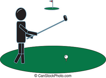 klub, golf, pind figur, svinge