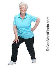 klub, holdning, sundhed, senior kvinde