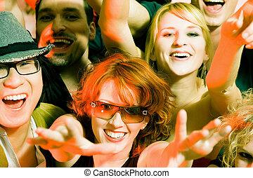 klub, hurrarufen, crowd, disko
