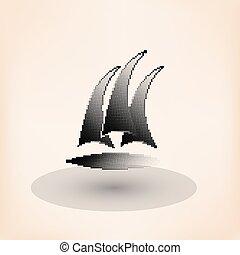 klub, jacht, halftone, wektor, stylized., logo.