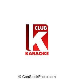 klub, k, vektor, brief, karaoke, ikone
