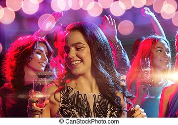 klub, lächeln, champagner, friends, brille