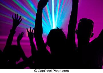 klub, laser, leute, tanzen