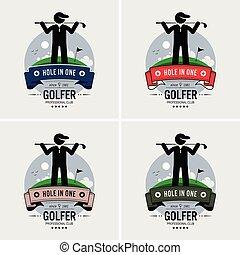 klub, logo, golf, design.
